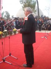 Les Manning, organizer of the Canadian contingent of artists, delivering his address at the opening of the Canadian museum