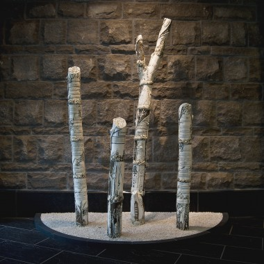 Donors' Forest, porcelain, oxides, terra sigillata, glaze, metal armatures, crushed rock, 210 × 300 × 105 cm overall