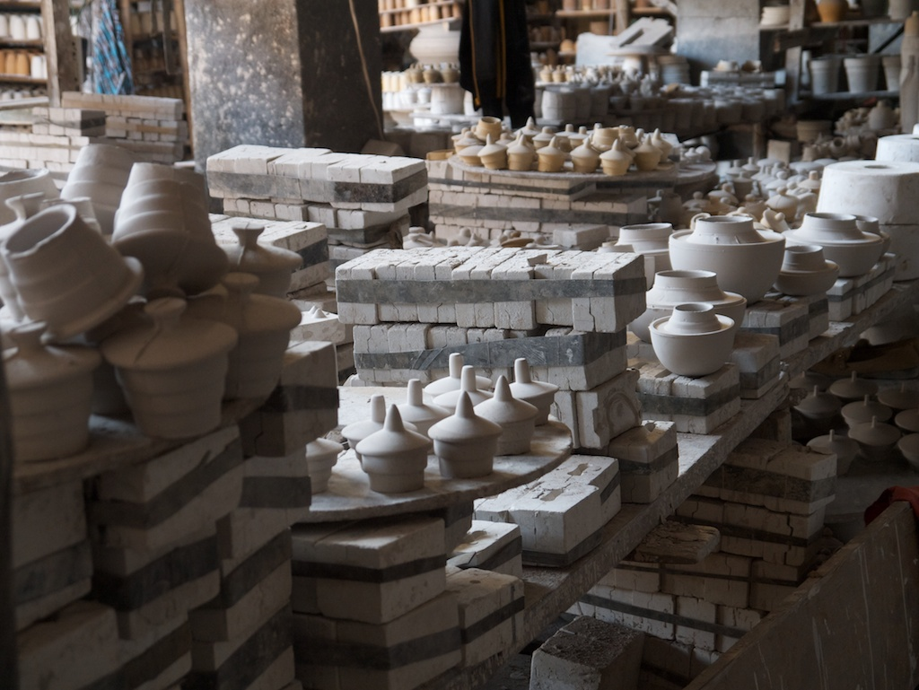Plaster moulds and greenware in a greenware factory, Jingdezhen
