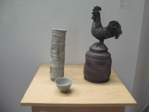 Funerary Urn for a Farmer by Chris Pancoe, U of M Ceramics & Sculpture Technician, and Wood-fired work by U of M student Brenna Litton.
