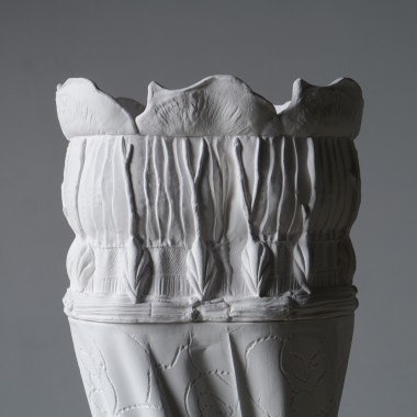 Host, detail, Jingdezhen porcelain, forms made using fabric-formed mould work, slip cast with hand-built additions, metal base and armature 270 × 50 × 50 cm