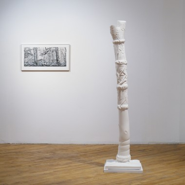 Fabricated Tree Form No. 1: porcelain paper clay (forms made using fabric-formed mould work, slip cast and press-moulded with hand built additions), metal armature,  180 × 43 × 43 cm, and Non-orthogonal Image No. 1: inkjet print, peripheral photograph by Michael Zajac of a porcelain tree form by Grace Nickel (prototype for ceramic decal), 45 × 84 cm print