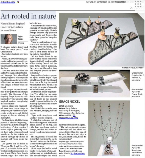"Scan of ""Art Rooted in Nature,"" Hamilton Spectator, September 14, 2019."